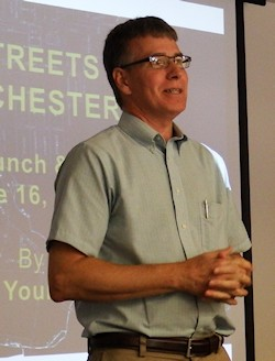 Tim Youmans at a PHW Lunch and Learn lecture on Winchester's streets.